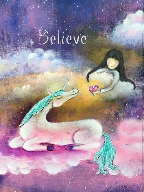 """Believe"" Unicorn Greeting Card"