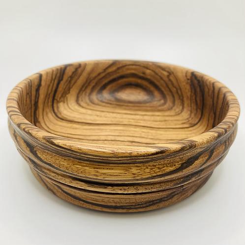 John - Shallow Medium Zebra Wood Bowl