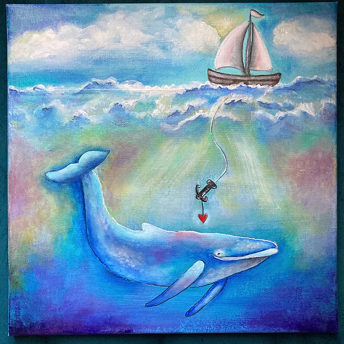 """Anni - """"Love is my Anchor"""" 12x12 Acrylic Painting"""