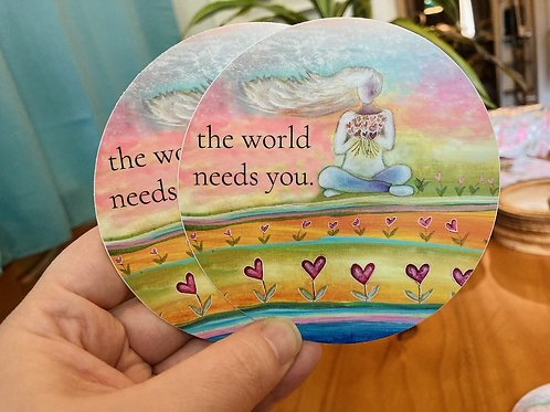 """""""The World Needs You"""" stickers"""