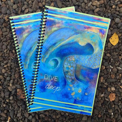 """Lined Mermaid Journal - """"Dive Deep"""""""