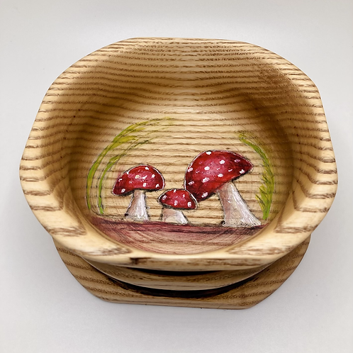 Anni  & John Collab - small Hand Painted Mushroom Wood Bowl