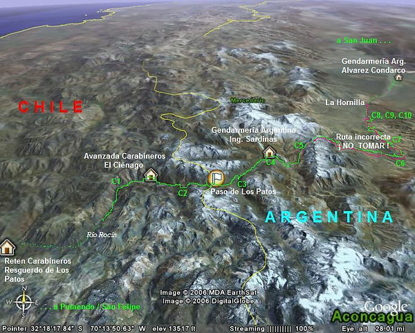 Paso Los Patos. Cruce de Los Andes