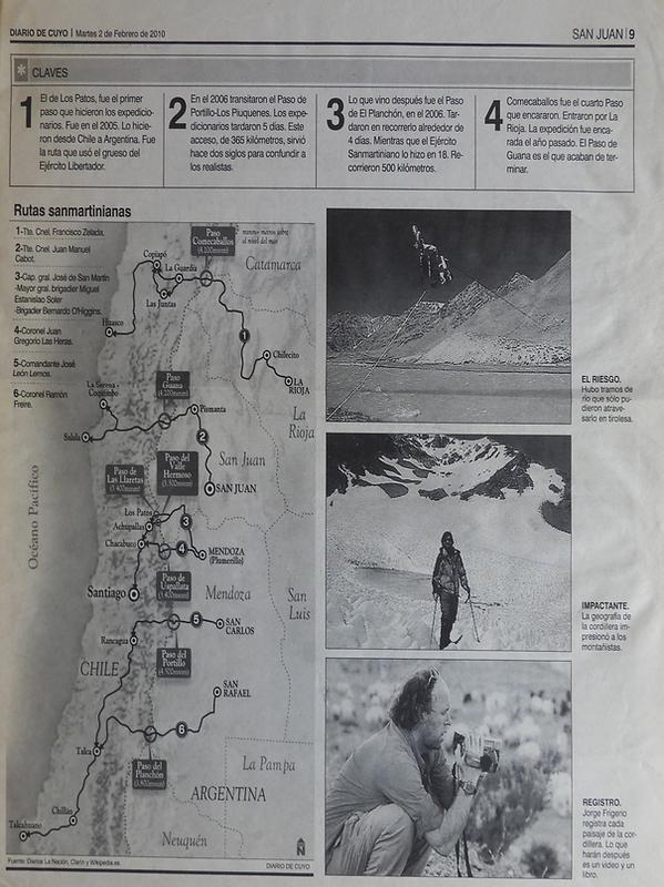 Cruce de los andes. los 6 pasos del ejército de los andes. jorge figerio.