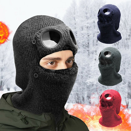 Winter Face Mask Knit Hat Beanie Thick Warm Snow Cap With Goggles