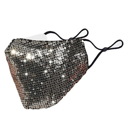 Hachiro Sequin Face Mask - Gold