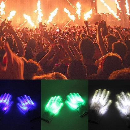 1Pair LED Light Up Hand Finger Gloves