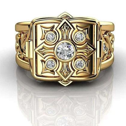 Fashion Gold Cross Storage Ring Unisex