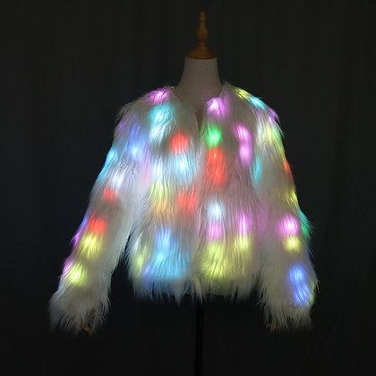 Women Faux Fur Coat LED Multi-Color With Shiny Lights Jacket Light Up