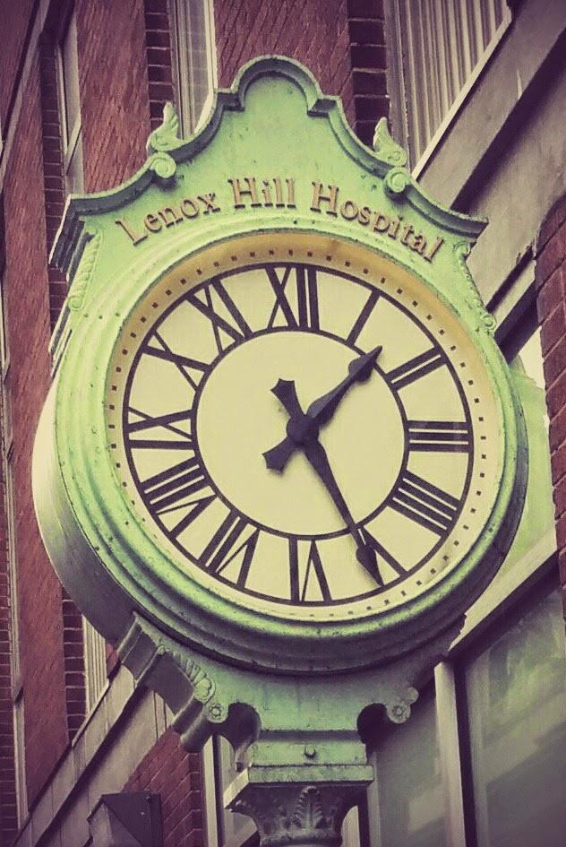 Clock at Lenox Hill Hospital in New York City