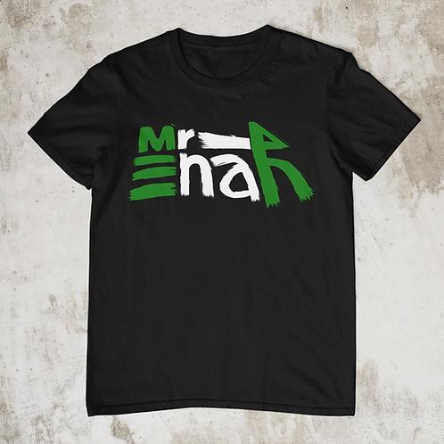 Mr Enah Logo T Shirt, Green White Green Text