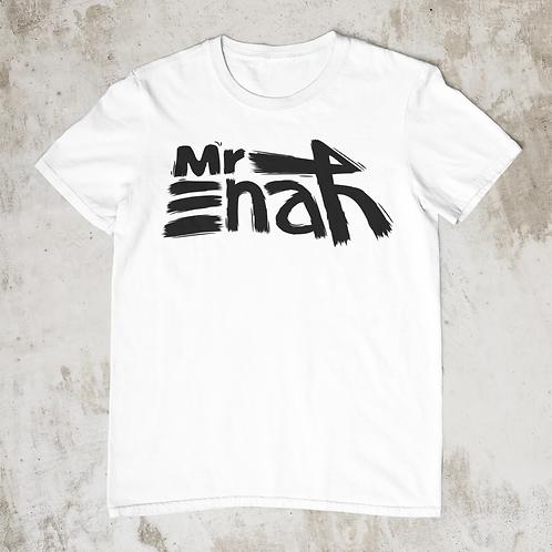 Mr Enah Logo T shirt White, BlackText