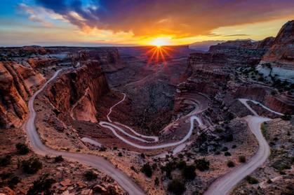 Sunrise over shafer trail canyonlands national park
