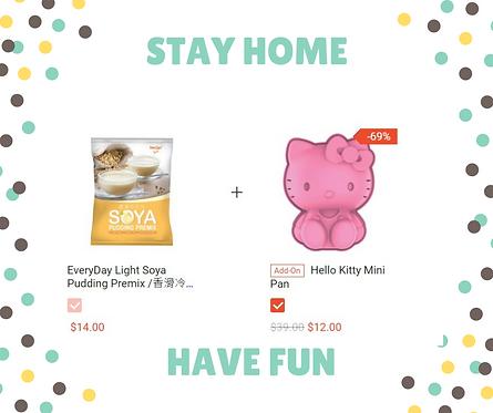 STAY HOME, HAVE FUN  (Soya Pudding Premix vs Hello Kitty Mini Pan)