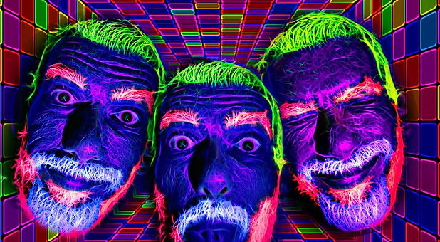 3 faces painted in UV body paint. photo by Brian William Hadwin. Be Style