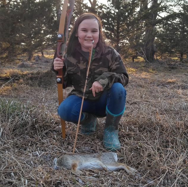Jocie, first archery kill.