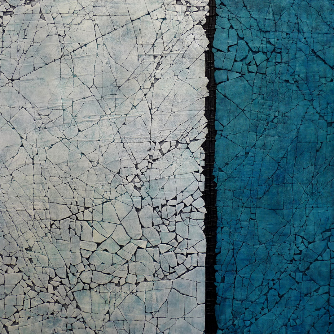 "Study in Titantium White and Turquoise. Mixed media. 36"" x 36"". 2015 SOLD"