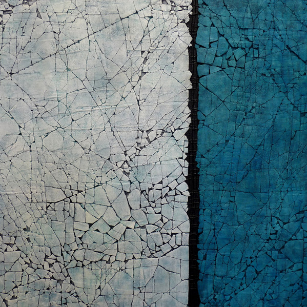 """Study in Titantium White and Turquoise. Mixed media. 36"""" x 36"""". 2015 SOLD"""