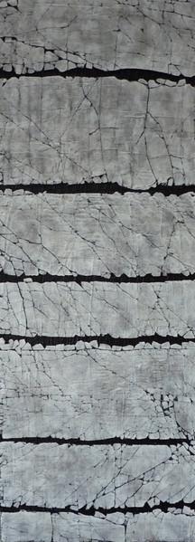 "Stripe: Carbon Black and Titanium White. Mixed media. 18"" x 48"". 2017 SOLD"