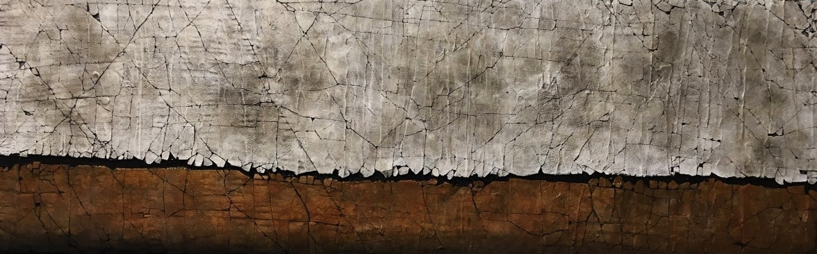 """Raw Sienna and Pearlescent White. 30"""" x 60"""". 2018 SOLD"""