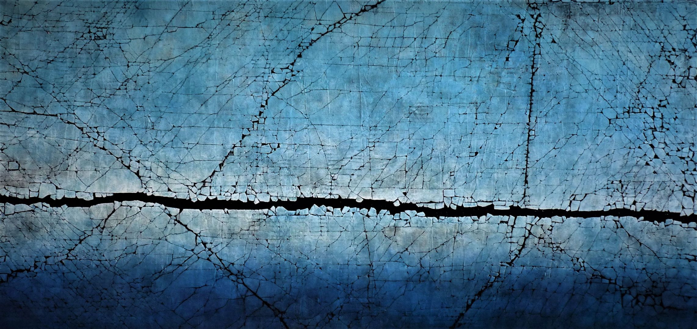 "Ebb and Flow Series: Cobalt and Ultramarine Blue. Mixed media. 33"" x 68"". 2020 SOLD"