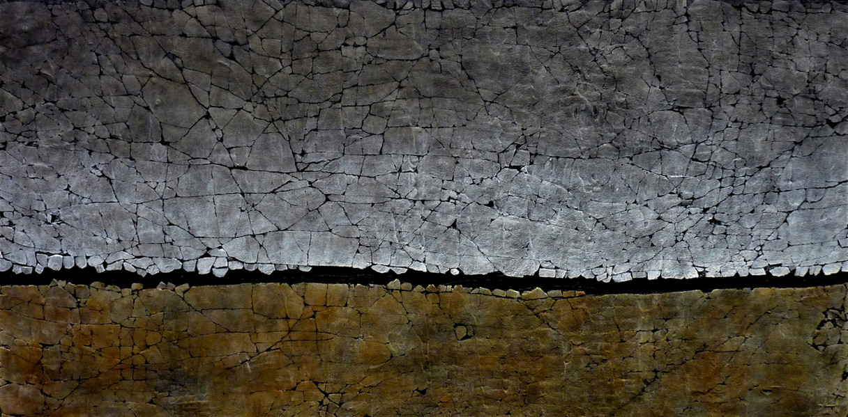 """Ebb and Flow Series: Yellow Ochre and Carbon Black. Mixed media. 24"""" x 48"""". 2021 Price: $3000.00 AVAILABLE at The Effusion Gallery and Glass Studio"""