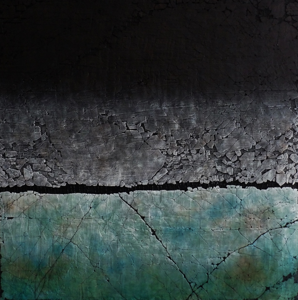 "A Study In Carbon Black and Turquoise. Mixed media. 48"" x 48"". 2017 SOLD"