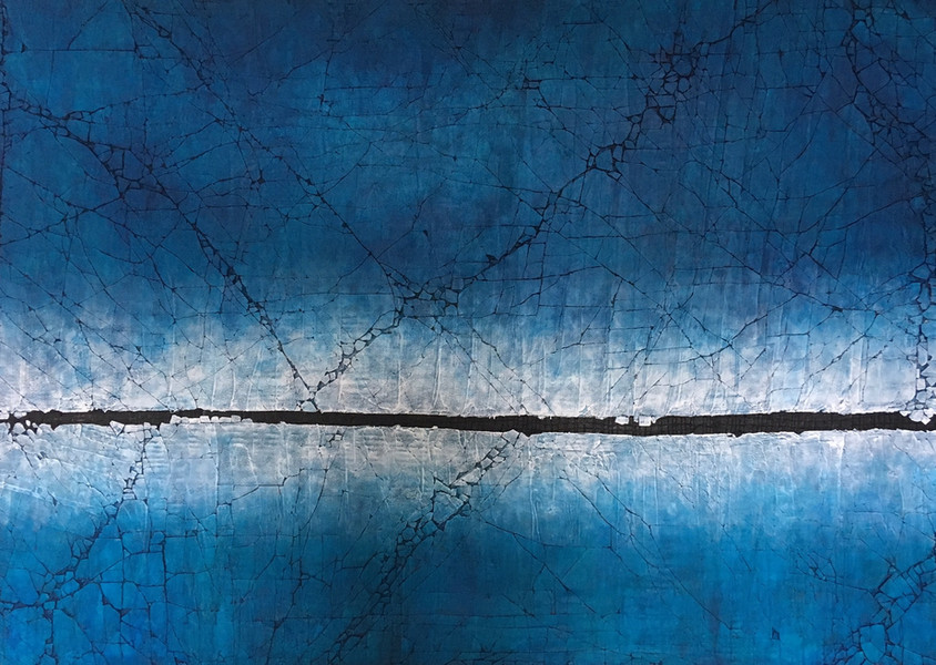 """Contemplating Pthalo Blue. 48"""" x 72"""". 2018 SOLD"""