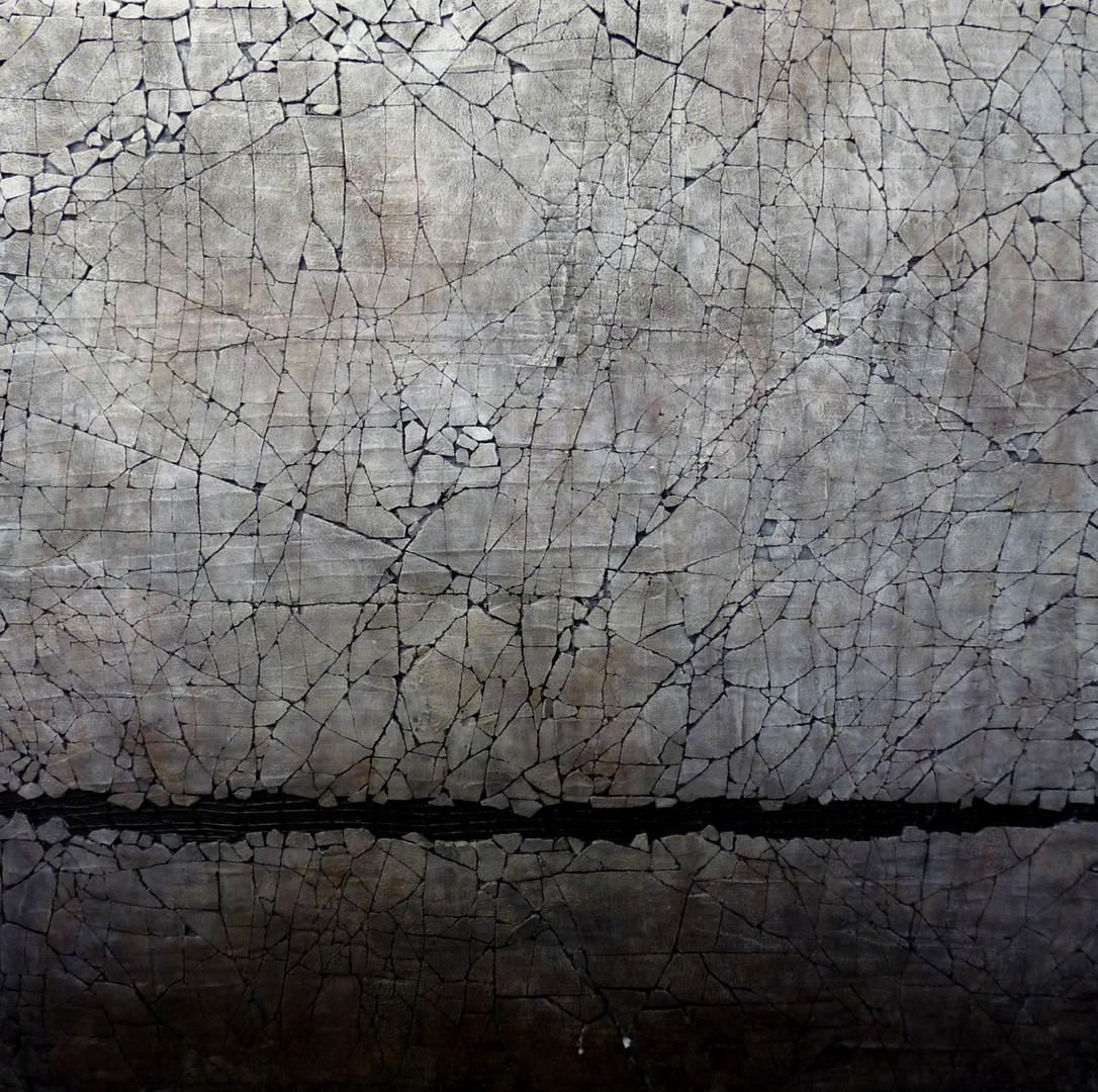 "Study in Titanium White and Carbon Black. Mixed media. 36"" x 36"". 2015 SOLD"