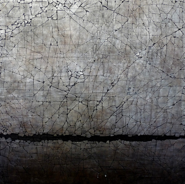 """Study in Titanium White and Carbon Black. Mixed media. 36"""" x 36"""". 2015 SOLD"""