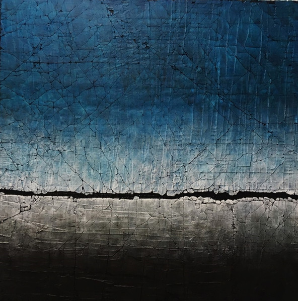 """Carbon Black and Pthalo Blue. Mixed media. 40"""" x 40"""". 2018 SOLD"""