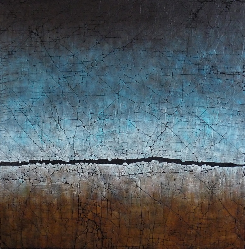 "Cerulean Blue and Raw Sienna. Mixed media. 48"" x 48"". 2019 SOLD"