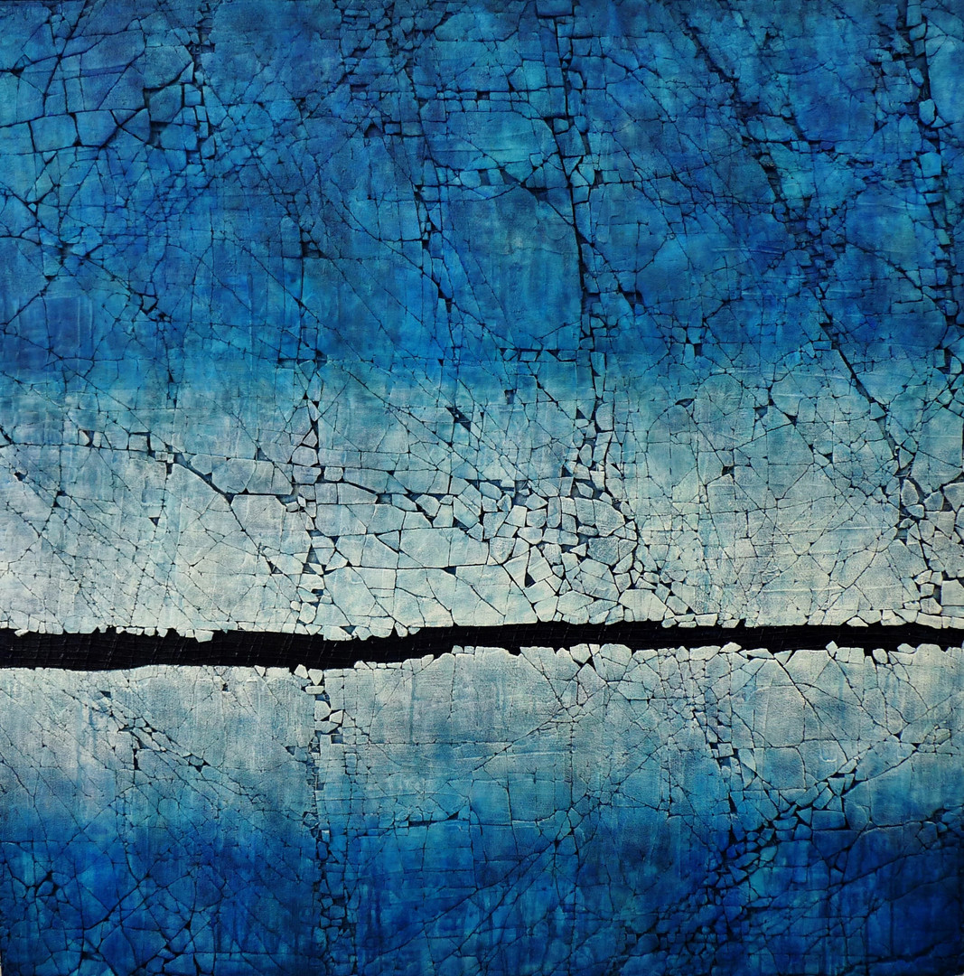 "Shoreline #1: Pthalo Blue. Mixed media. 36"" x 36"". 2017"