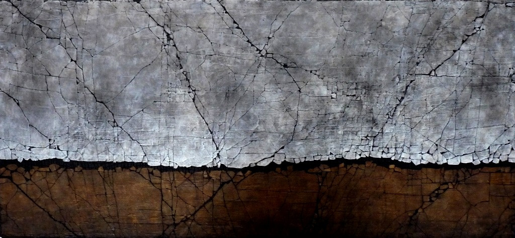 """A Study In Titanium White and Raw Sienna. Mixed media. 30"""" x 65"""". 2017 SOLD"""