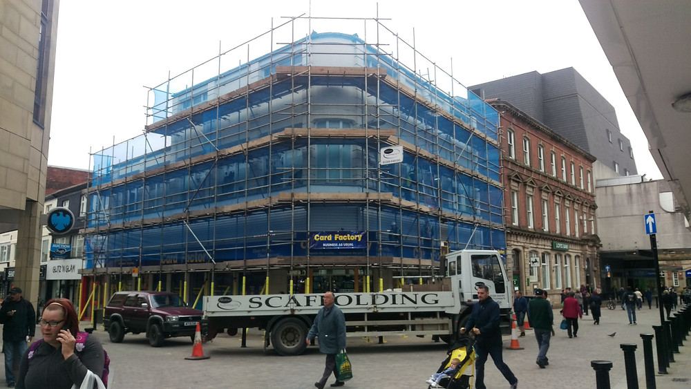 Scaffold on behalf of Assemble Projects Ltd to access windows and walls for repainting.