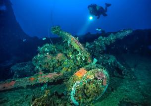 Howitzer on deck of Nippo Maru, Truk Lagoon