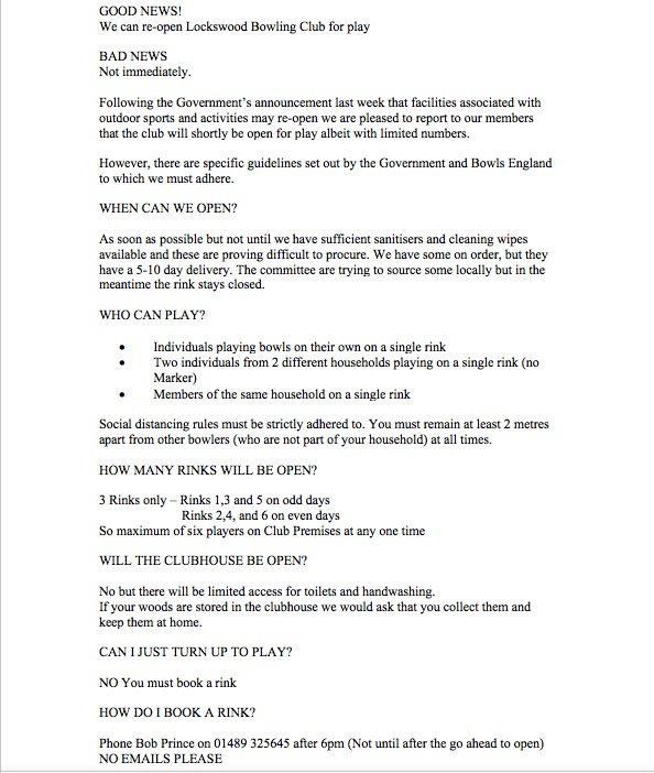 Page 1 Initial advice for reopening club