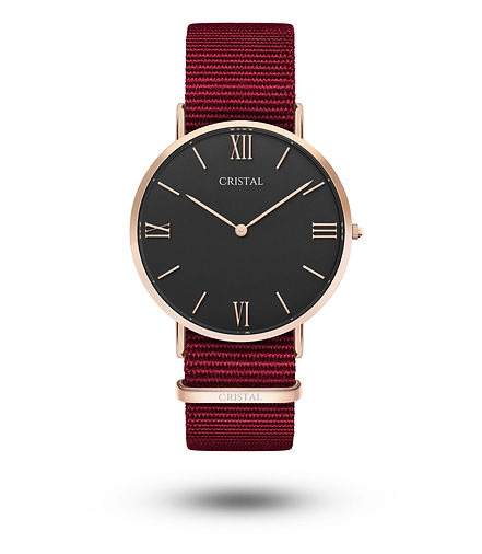 Montre rose gold or rose nato nylon rouge femme homme tendance cristal watches cluse daniel wellington dw rosefield amazon pas cher