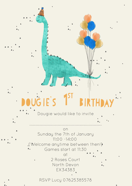 Dinosour Party Invitation