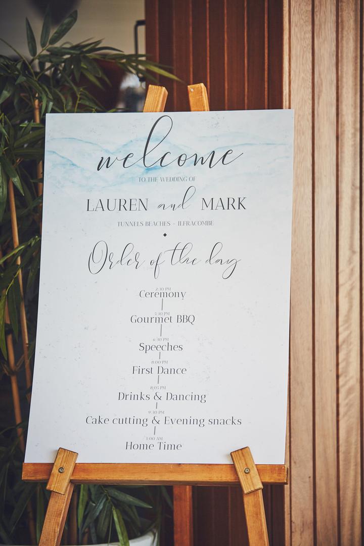 Lauren and Mark Welcome Sign