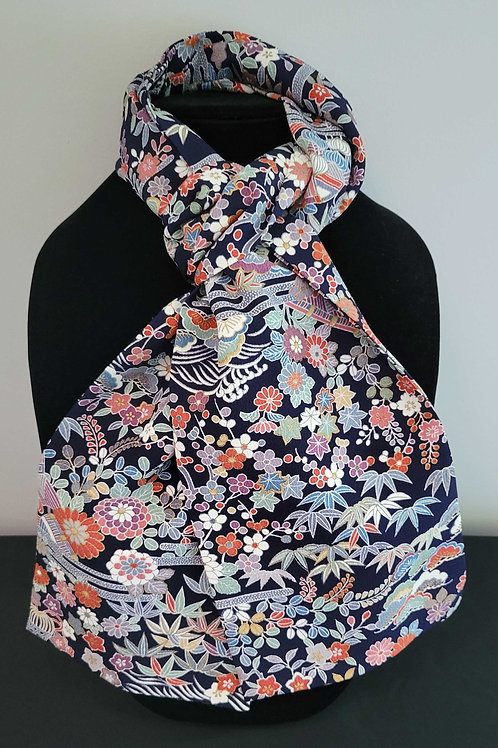Kimono Scarf S9588 - Navy Bamboo and Floral