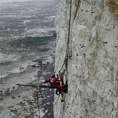Installing instruments in chalk cliffs