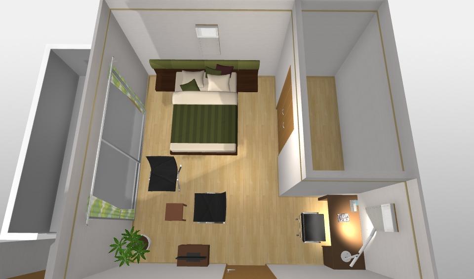 インテリアコーディネート パース 書斎のある寝室2