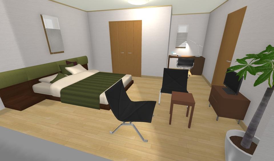 インテリアコーディネート パース 書斎のある寝室1