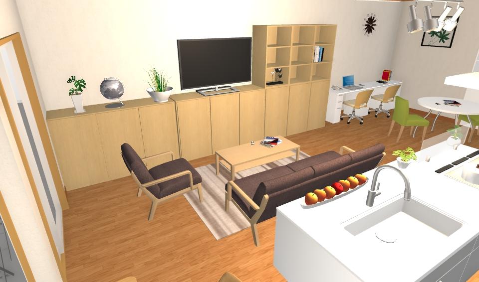 インテリアコーディネート パース マンション ホームオフィスプラン2ン3