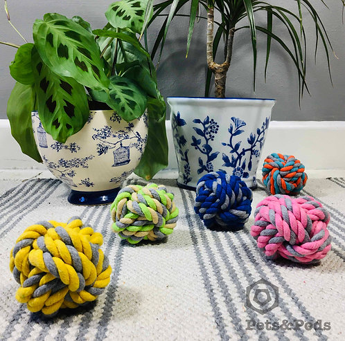 Cotton Rope Ball Dog Toy - Monkey's Fist Knot