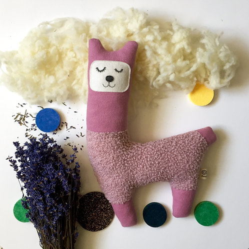 Alpaca dog pillow with lavender