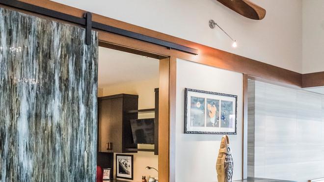 Custom glass barn door to study