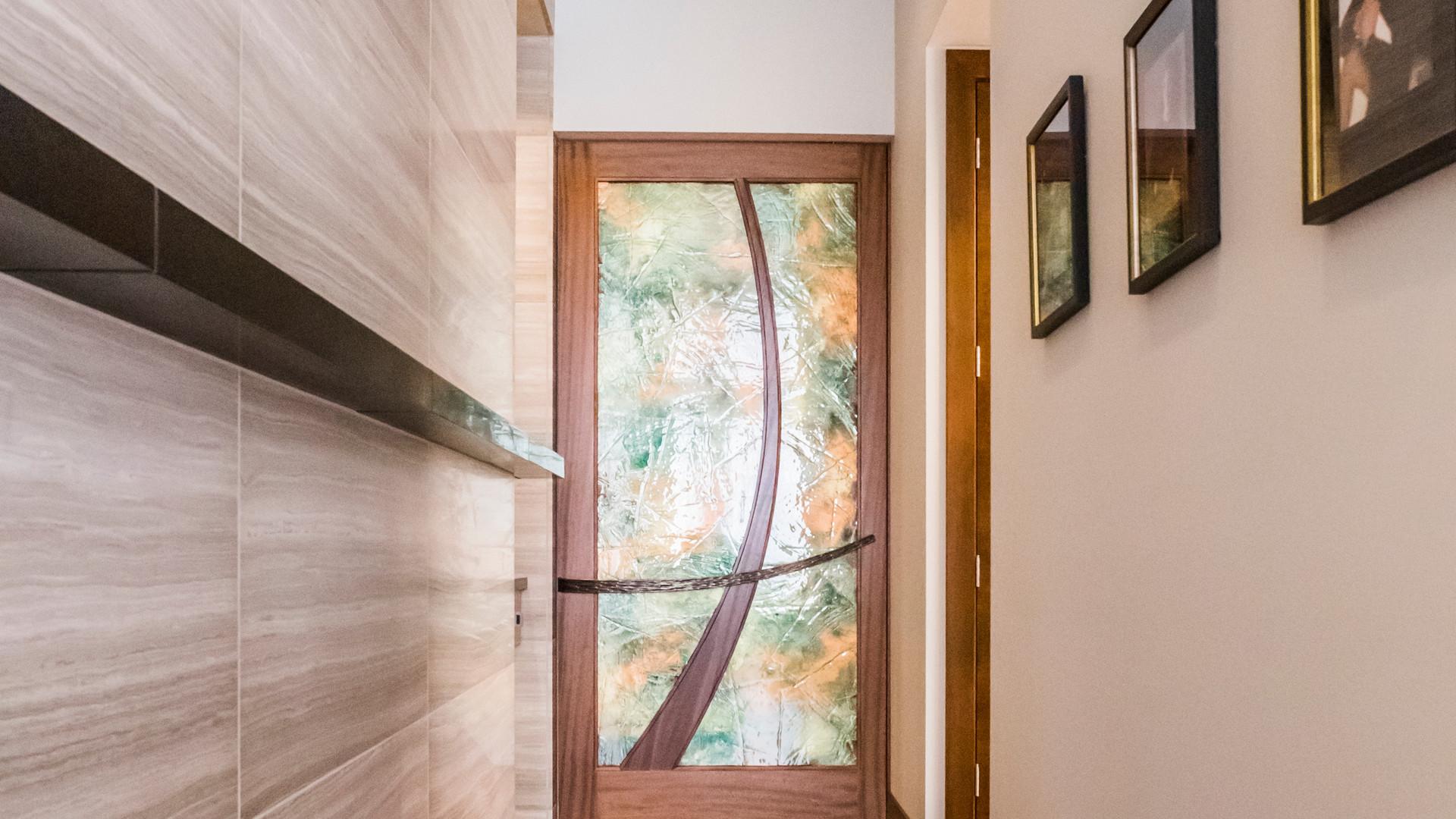Custom glass interior door