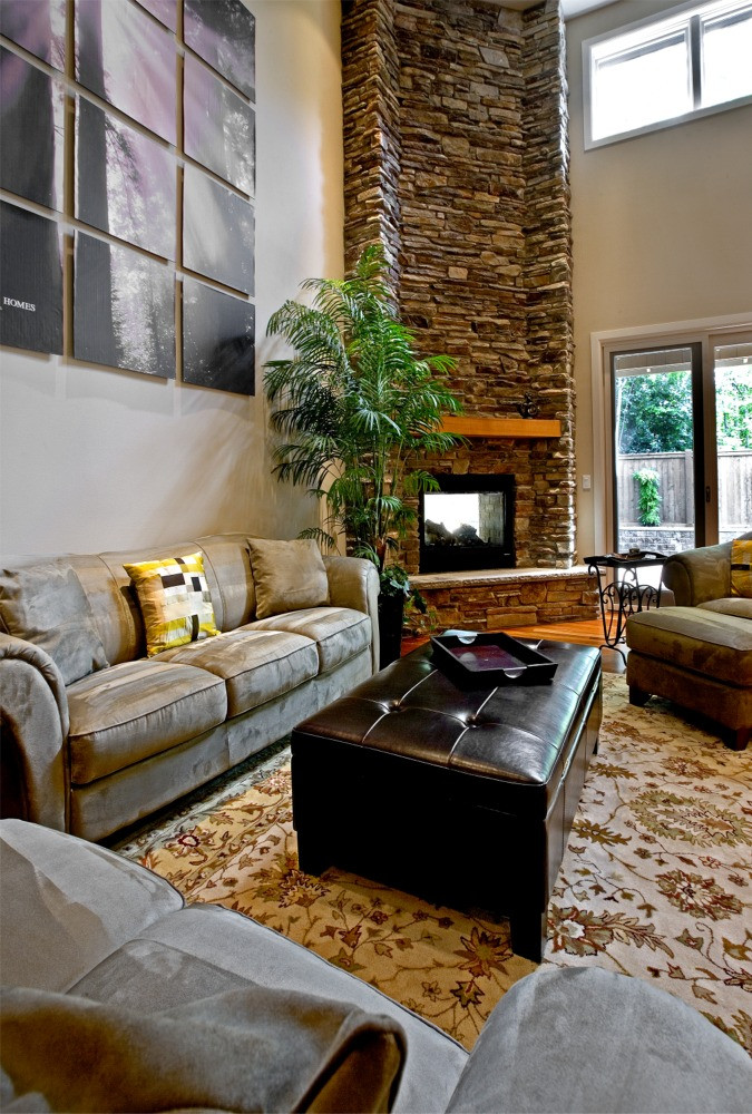 Family room with high ceilings